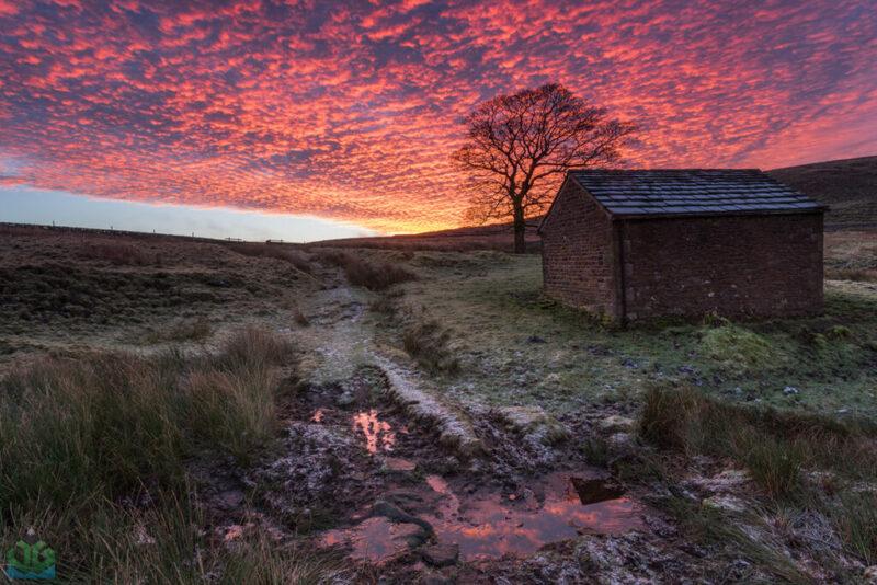 Barn Fiery Skies - Peak District Landscape Photography